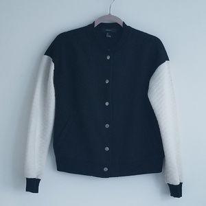 Forever 21 Black & White Quilted Bomber Jacket, S